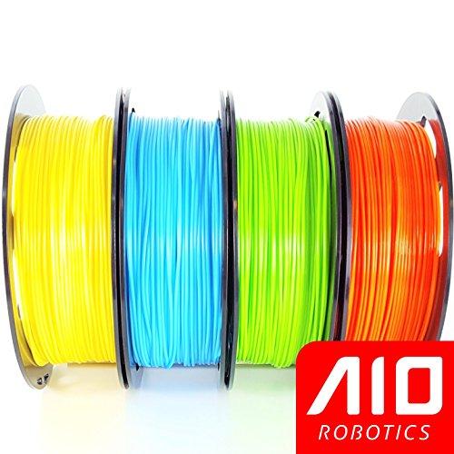 Filamento AIO Robotics Premium para impresoras 3D, PLA, 4 x 0,5 kg PLA, colores populares - Amarillo (106C), Azul Claro (637C), Verde Claro (7488C), Naranja (172C)