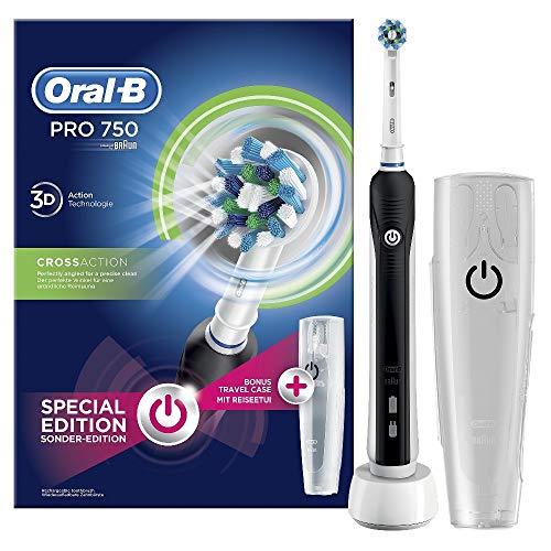 Oral-B PRO 750 CrossAction Spazzolino Elettrico Ricaricabile, Bonus Pack, Versione Vecchia, Bianco/Nero