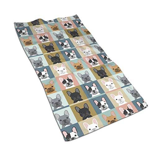 antcreptson French Bulldog Pattern Hand Towels 30 X 16 Inch,Unicorn Bath Bathroom Towels Multipurpose Towel Highly Absorbent for Bath,Hand,Face,Gym,Spa