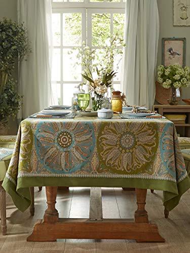 LIUJUAN Bordsduk ros öga bordsduk matbord europeisk rund bordsduk nordisk kaffebordsduk bordsduk-grön_130 x 130 cm/matbord för 2–4 personer