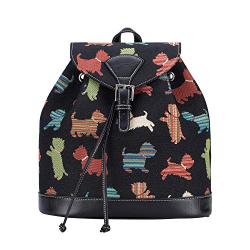 Signare Tapestry Fashion Backpack Rucksack for Women with Animal Pet Designs (Playful Puppy, RUCK-Puppy)