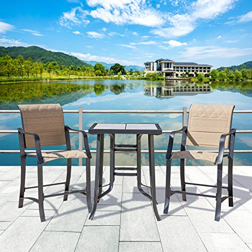 LOKATSE HOME 3 Piece Bar Height Patio Set Outdoor Furniture,2 Bistro Stools and 1 Coffee Table for Yard, Garden, Porch, Beige