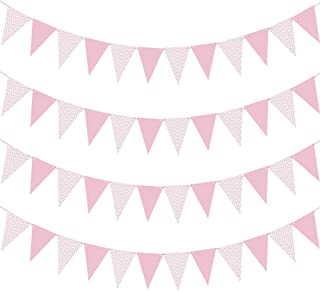 TONIFUL Pink Paper Pennant Banner 26.25 Feet Bunting 48 Pcs Triangle Flags for Baby Shower Birthday Party Wedding Decorations (4 Pack)