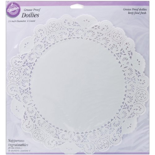 Wilton 369572 Greaseproof Doilies, 14-Inch, White Circle, 4-Pack