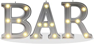 """Decorative Illuminated BAR Marquee Word Sign (Silver Color 4.21"""" Tall) –.."""