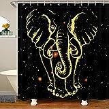 Loussiesd Cortina de ducha impermeable con diseño de animales en 3D, color dorado, cortina de ducha para niños y niños, con ganchos y cortinas de decoración de galaxia, 180 x 200 cm