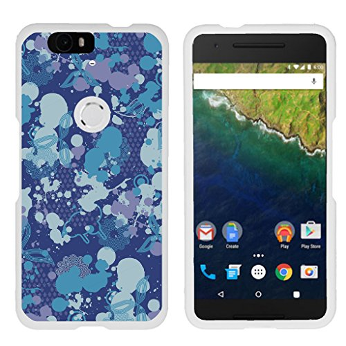 TurtleArmor   Compatible with Huawei Nexus 6P Case   Google Nexus 6P Case [Slim Duo] Slim Ultra Fitted Hard Cover Rubberized Coating Camouflage Case on White - Blue Midnight Print