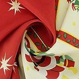 ALMACENES CASA ANGEL Tejido DE Strech Estampado con Motivos DE Navidad Ancho 150cm por Metro Especial para MANTELERÍA Y DECORACIÓN (Estrellas Rojas, 5 Metros)
