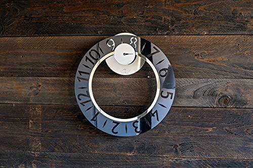 WoW Clock Design Elegante - Orologio da Parete novità Design Moderno Idea Regalo Originale Wow Clock Made in Italy Color Smoking Black - Grigio fumè - Effetto Fumo di Londra - riflette Ogni Ambiente