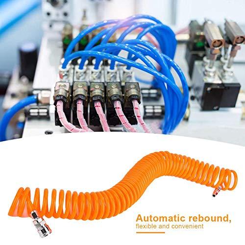 Veerslang, 9M luchtcompressor veerslang Rode flexibele buis met 20SP + 20PP pneumatische connector, terugspoelende slangring, tuin/planten water geven, huis schoonmaken