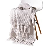 Sue&Joe Tassel Waffle Weave Blanket Knit Throw Blanket for Couch Sofa Decorations- Soft Comfortable Breathable for All Seasons-Size 50'x 60', Beige