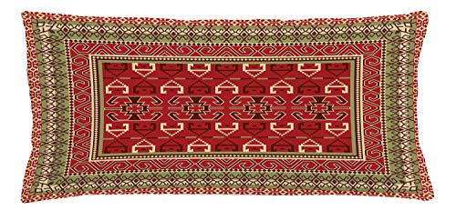 """Ambesonne Turkish Pattern Throw Pillow Cushion Cover, Rectangular Frames and Abstract Shapes with Ottoman Origins, Decorative Rectangle Accent Pillow Case, 36"""" X 16"""", Ruby Pistachio Green Brown"""