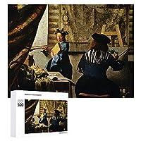 INOV 1668年頃絵画 ヨハネスフェルメール芸術 ジグソーパズル 木製パズル 500ピース 38 x 52cm 人気 パズル 大人、子供向け 教育玩具 ストレス解消 ギフト プレゼントpuzzle