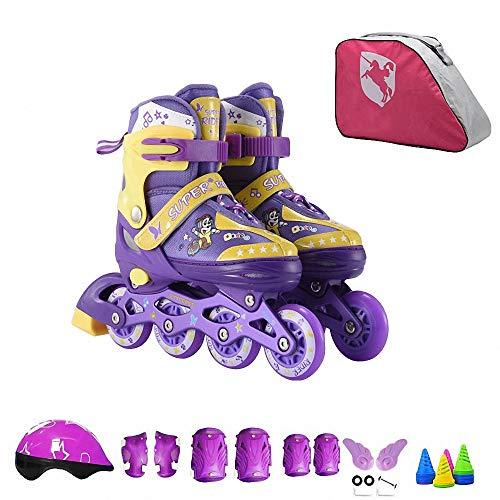 Miarui Leucht Inline Skates Rollschuhe Rollschuhe für Kinder Inline Skates Kinder Verschleißfeste Roller Skates Rollschuhe für Kinder für Kinder Jungen Mädchen,Lila,S(26~32)