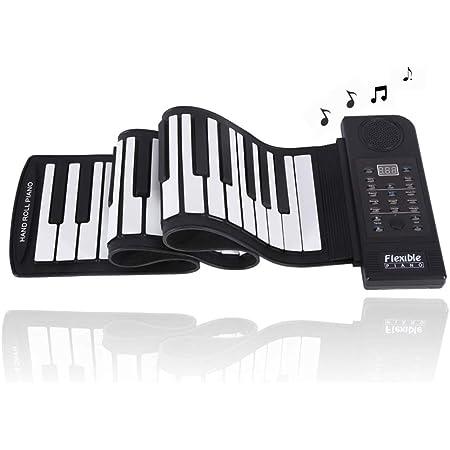 Denash Piano de Teclado Plegable 61 Teclas, Enrollable Silicona Suave Piano electrónico Flexible Música Digital Piano de Teclado con 128 Tonos, 128 ...