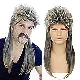 Pelucas de salmonete para hombres 70s 80s mullet disco punk rock peluca hombres larga recta marrón y rubia Halloween cosplay peluca