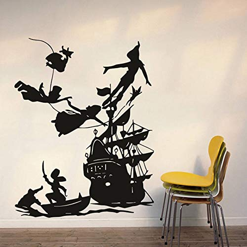 yiyitop Peter Pan Wandtattoo Boy Traum Cartoon Decals Piratenschiff dekor wandaufkleber kinderzimmer Schlafzimmer wasserdicht Vinyl Decals 42 * 33 cm