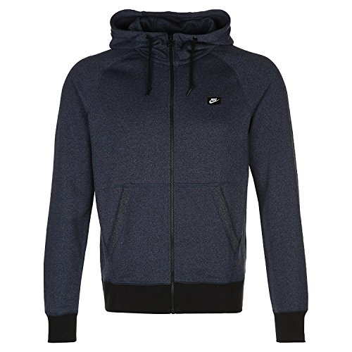 Nike Men's AW77 French Terry Shoebox Hoodie Large Squadron Blue/Black/Heather
