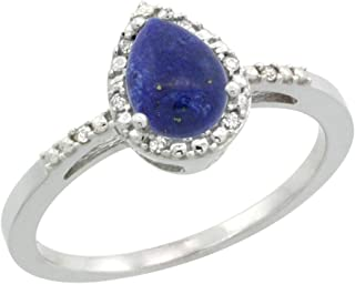 Sterling Silver Diamond Natural Lapis Ring Pear 7x5mm, 3/8 inch wide, sizes 5-10