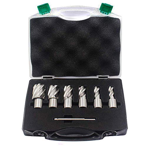 OSCARBIDE Annular Cutter Set,1'Cutting Depth,3/4' Weldon Shank,2 Flat,(1/2,9/16,11/16,13/16,15/16,1-1/16) inch Diameter,HSS Mag Drill Bits Kit for Magnetic Drill Press with Pilot Pin,6 Pieces/Set