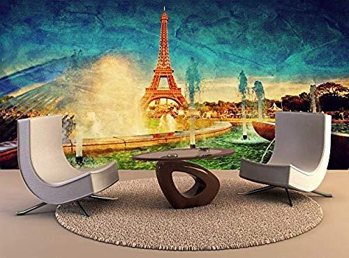 Foto Benutzerdefinierte Wand Eiffelturm Brunnen Paris Frankreich Frankreich Französisch Vintage Wall Art Deco Tapete Hohe Qualität Drucken 450X300 Cm