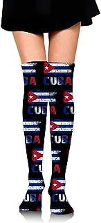 NCH UWDF, Grunge Bandera Cubana Mujer niña Muslo Calcetines Altos sobre la Rodilla Calcetines Largos