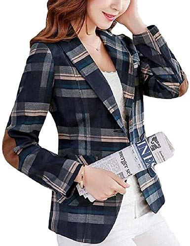 RAINATTY Women's Elbow Patch Plaid Notch Lapel Slim Fit Blazer