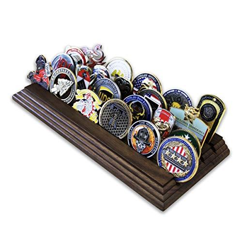 Coins For Anything Inc Münzhalter für Münzen, 4 Reihen – Militär Challenge Münzständer – für 19-25 Münzen, 4 Reihen (Massivwalnuss)