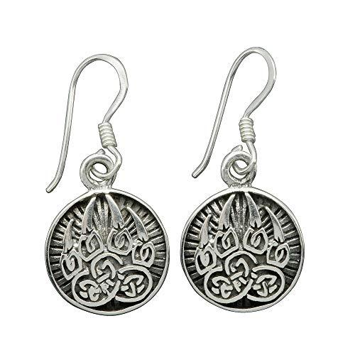 Beldiamo 3 g 925 Sterling Silver Wolf Paw Claw Earrings, Triquetra Norse Celtic Amulet Earrings Viking Earrings Replica,Viking Jewelry