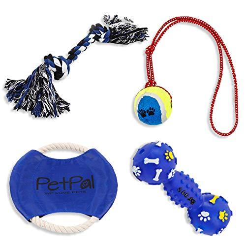 PetPäl Hundespielzeug Set Perfekte Hunde Spielzeug mit Ball am Seil, Frisbee, Quietscher & Knotenseil für den Hund Groß & Klein - Auch für Welpen Geeignet