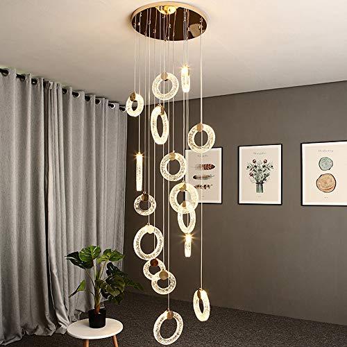 Cristal blanco cálido 3000 K escaleras lámpara colgante anillo redondo artístico escalera lámpara de araña LED pasillo Loft lámpara de techo salón comedor romántica moderna creativa luz colgante luces