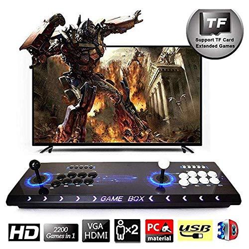 HLLGAME Pandora's Box 3D Home Arcade Konsole, 2448 Classic-Spiele Joystick Spielkonsole, Kundenbezogene Schaltflächen, 1280x720 Full HD, Unterstützt PS3, Pielcontroller, HDMI und VGA Ausgang, QY-05