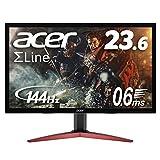 Acer ゲーミングモニター SigmaLine 23.6インチ KG241QAbiip 0.6ms(GTG) 144Hz TN FPS向き フルHD FreeSync HDMIx2 ブルーライト軽減