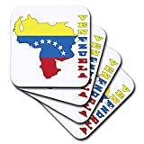 3dRose CST_58714_2 Venezuelan Flag in Outline Map and Letters of Venezuela Soft Coasters (Set of 8)