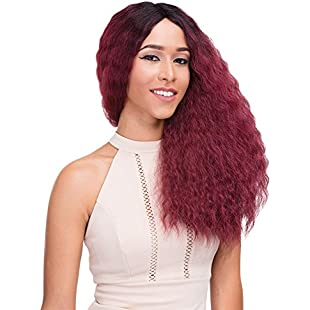 Janet Collection Natural Super Flow Deep Part Lace Wig - French - OET1B/BURG (1B):Canliiddaa