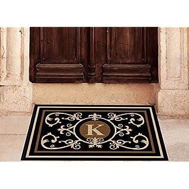 Edinburgh Estate Doormat - Monogrammed Black & Suede K 2 x 3
