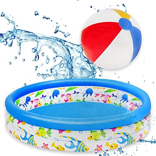XXL Planschbecken 122x25cm inkl. Wasserball | Kinder-Planschbecken für Klein & Groß | Aufblasbarer Pool, Kinderpool, Baby-Pool rund für Baby & Kinder ideal für Garten Balkon Outdoor Wasserspiele
