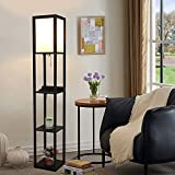 3-in-1 Shelf Floor Lamp with 2 USB Charging Ports & Electric Outlet, Simple Design 3-Tiered LED Floor Lamp Wooden Frame Modern Standing Light for Living Room, Bedroom