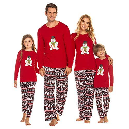 Damen Pyjama Schlafanzug Lang Zweiteilige Nachtwäsche Set Sleepwear aus Baumwolle Langarm O-Aussschnitt Hosen Hausanzug für Frauen Rot XXL