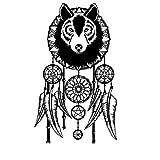 Lobo guardián de los sueños pluma etiqueta de la pared del arte del lobo etiqueta de la pared diseño moderno dormitorio decoración del hogar extraíble dreamcatcher vinilo mural