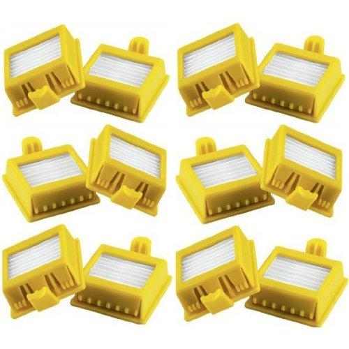 Staubsauger-Ersatzfilter, HEPA, Gelb, quadratisch, für Irobot Serien 700 / 760 / 770 / 780, 12 Filter
