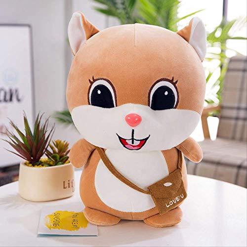 XINRUIBO Netter super weich unten Baumwolle Bohne Ding Eichhörnchen Plüschspielzeugpuppechi Mädchen Kinder zu geben Geschenke 25cm Khaki eichh?rnchen stofftier (Color : Khaki, Size : 30cm)