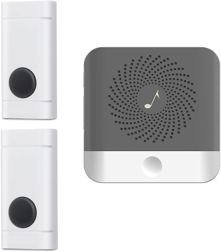 Wireless Doorbell with 2 Push Button Waterproof Transmitter and 1 Plugin Receivers Operating at over 1000-feet Range with Over 50 Chimes, No Batteries Required for Receivers