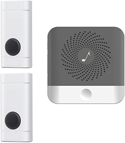 Wireless Doorbell with 2 Push Button Waterproof Transmitter and 1 Plugin Receivers Operating at Over 1000-feet Range ...