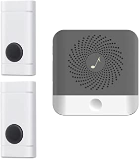 Wireless Doorbell with 2 Push Button Waterproof Transmitter and 1 Plugin Receivers Operating at Over 1000-feet Range with ...