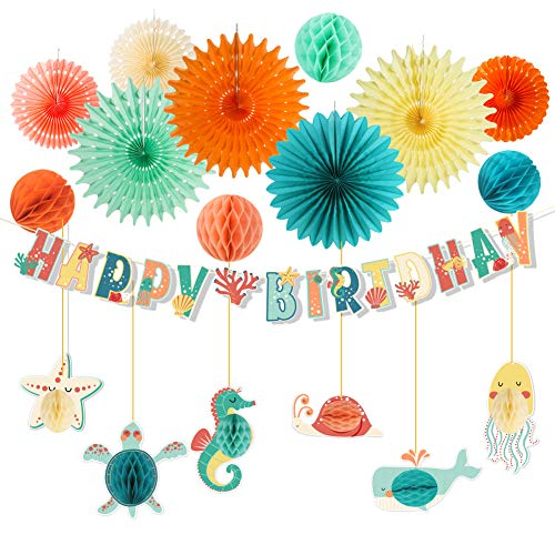 SUNBEAUTY Meerestiere Geburtstag Dekoration Happy Birthday Girlande Papier Fächer Kindergeburtstag Deko Unterwasser Party Seepferd Seestern