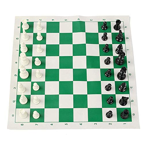 Portable Chess Set,Chess Board Game 16 Inch Tournament Chess Set Game Plastic Pieces Green Roll Outdoor Travel Camping Game Chessboard Size 43x43cm for Kids and Adults (Color : Green, Size : One size