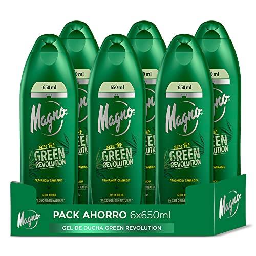 Magno - Gel de Ducha Green Revolution - 6uds de 650ml (3.900ml) - Fragancia a Cannabis - Exclusividad en esencia