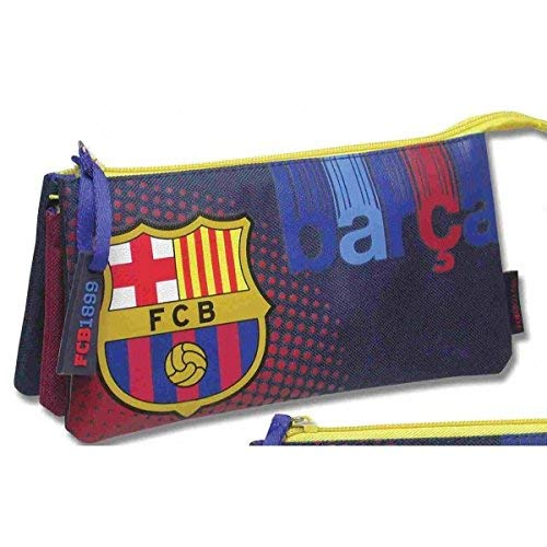 FC Barcelona - Estuche portatodo triple Barcelona CF, color Azul
