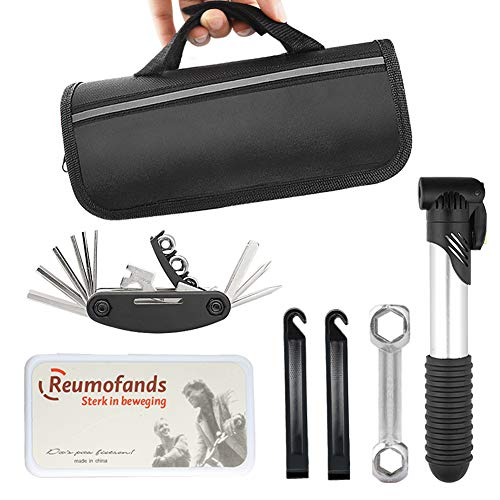 JNUYISW Bike Repair Tool Kits, 16 in 1 Multi-Function Portable Waterproof Bicycle Repair Cycling Tool Bag with Mini Pump and Self Adhesive Patch Kit